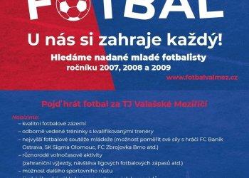 Foto č. 1- Valmez hledá mladé fotbalisty ročníků 2007, 2008 a 2009