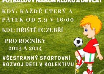 Foto č. 1- FC Zubří pořádá fotbalový nábor kluků a děvčat