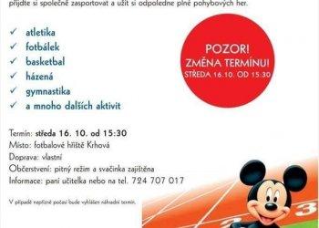 Foto č. 1- Sportovní odpoledne s Mickey Mousem v Krhové natočíme s DeFib studiem (změna termínu na 16. 10.)